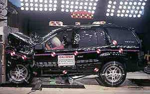 2001 Jeep Grand Cherokee 4-DR. after frontal crash test