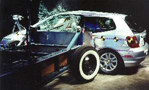 NCAP 2002 Honda Civic side crash test photo
