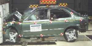 2003 Hyundai Accent  (Later Release) 4-DR. after frontal crash test