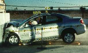 NCAP 2003 Dodge Neon front crash test photo