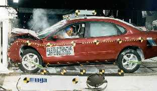 2003 Ford Taurus 4-DR. after frontal crash test