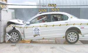 2004 Jaguar X-Type 4-DR. w/SAB after frontal crash test