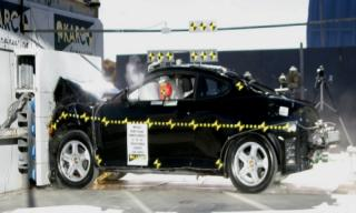 2004 Hyundai Tiburon 2-DR.w/SAB after frontal crash test