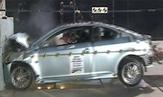 2008 Toyota Scion tC 2-DR w/SAB after frontal crash test