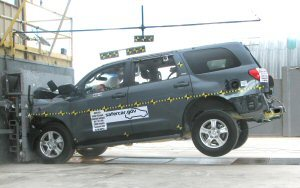 2008 Toyota Sequoia 4-DR w/SAB after frontal crash test