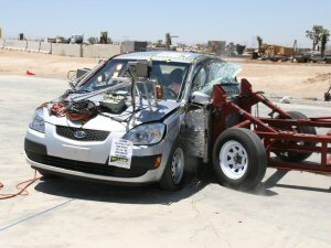NCAP 2010 Kia Rio side crash test photo