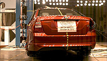 NCAP 2011 Ford Fusion Hybrid side pole crash test photo