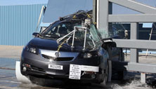 NCAP 2012 Acura TL side pole crash test photo
