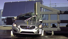 NCAP 2012 Volvo S60 side pole crash test photo