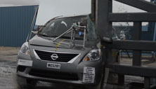 NCAP 2012 Nissan Versa side pole crash test photo