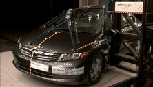 NCAP 2012 Honda Civic Hybrid side pole crash test photo