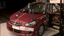 NCAP 2013 Hyundai Accent side pole crash test photo