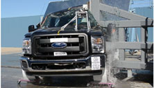 NCAP 2013 Ford F-250 side pole crash test photo