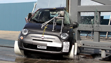 NCAP 2014 Fiat 500 side pole crash test photo