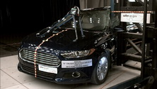 NCAP 2014 Ford Fusion Energi side pole crash test photo