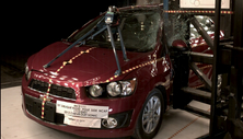 NCAP 2015 Chevrolet Sonic side pole crash test photo