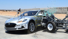 NCAP 2015 Tesla Model S side crash test photo