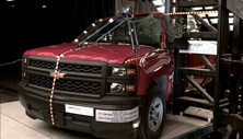 NCAP 2015 Chevrolet Silverado 1500 side pole crash test photo