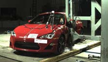 NCAP 2015 Scion FR-S side pole crash test photo