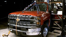 NCAP 2015 Chevrolet Silverado 2500 side pole crash test photo