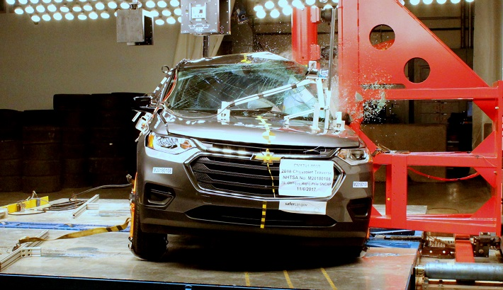 NCAP 2018 Chevrolet Traverse side pole crash test photo