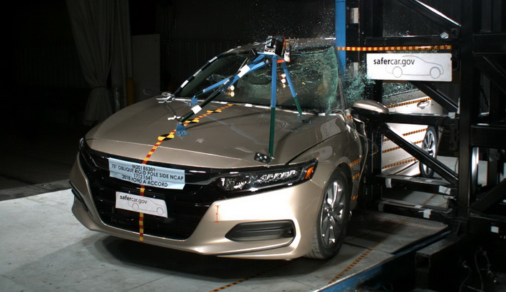 NCAP 2018 Honda Accord side pole crash test photo